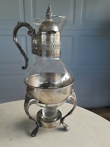 Raimond Silver Silverplate Glass Coffee Carafe Pitcher Lid Base Vintage
