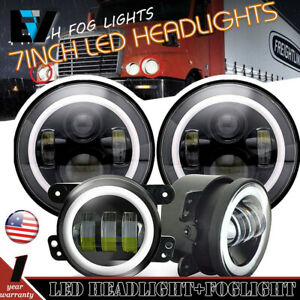 Fit Freightliner Century Class 7inch Led Halo Headlight Hi lo 4 Fog Light