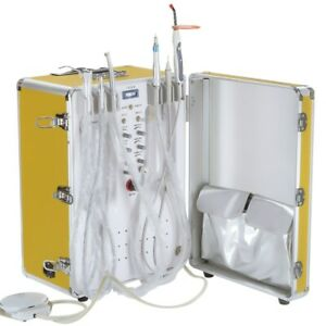 Dental Portable Delivery Unit With Air Compressor Curing Light Scaler Golden