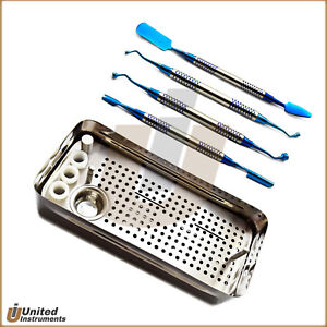 Dental Implant Prf Instruments Set Of 4 Compactor Spoon Carrier And Prf Grf Box