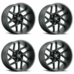 Set 4 20 Vision Sliver 360 Satin Black Wheels 20x9 6x5 5 0mm 6 Lug Truck Rims