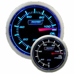 Prosport Gauges Performance Series Blue White Oil Pressure Gauge 52mm 2 1 16