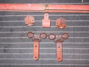 Antique Hh F Cannonball Barn Door Hardware Rollers Track End Caps Hanger
