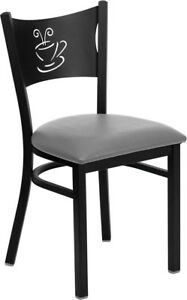 Metal Designer Coffee Restaurant Chair Grey Pad Seat