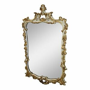 Antique Carved Mahogany French Style Distressed White Gold Wall Mirror