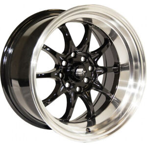 15x8 Black Machined Mst Mt11 Wheels 4x100 4x4 5 0 Fits Ford Mustang 4 Lug Only