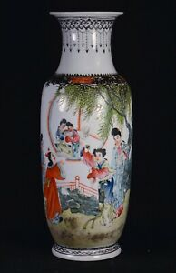 Antique Chinese Famillie Rose Porcelain Vase 13 Inches Tall Drilled