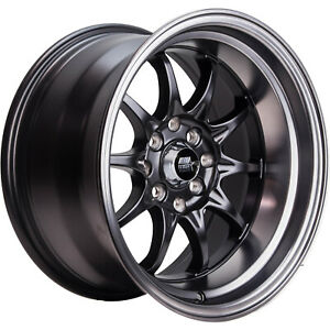 15x8 Black Mst Mt11 Wheels 4x100 4x4 5 0 Fits Ford Mustang 4 Lug Only