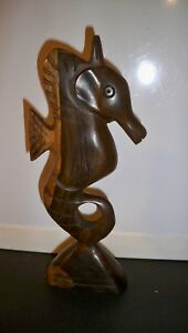 Carved Wooden Seahorse Figure 7 1 2 Inches Tall