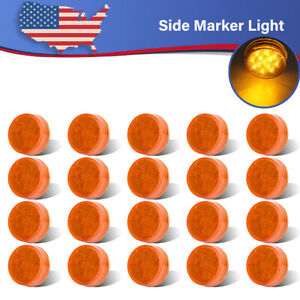 20x 2 5 Amber 13led Round Clearance Side Marker Sealed Light Trailer Truck Rv