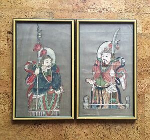 Pair Of Antique Chinese Warrior Paintings Possibly Door Gods Qing Dynasty