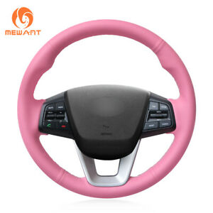 Hand Sew Pink Soft Leather Car Steering Wheel Cover For Hyundai Ix25 2014 2016