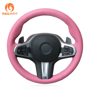 Pink Leather Car Steering Wheel Cover For Bmw M5 F90 X3 X5 8 Series G14 G15 G16