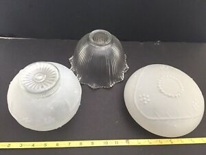 Frosted Clear Light Globe Shade Lot Of 5 Antique Vintage Ceiling Light Shades