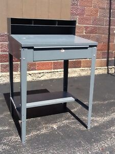Vtg Gray Metal Industrial Formans In Factory Floor Desk With Drawer Very Good
