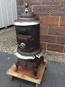 Antique Comfort Co Cast Iron Pot Belly Stove Very Complete Good Condition