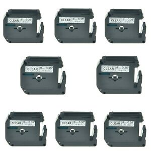 8pk M k121 Mk121 Black On Clear Label Tape For Brother P touch Pt 100 Pt 110