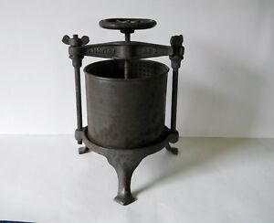 Vintage Rare L S Iron Co Brighton 2 Cast Iron Fruit Wine Press