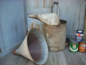 Vintage Large 15 Funnel 17 Radiator Gas Oil Water Can Garage Farm Machinery