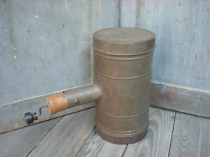 Antique Vintage Rep Los Angeles Ca Tin Metal Flour Sifter Can Primitive Kitchen