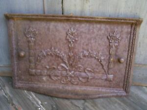 Antique Cast Iron Stove Door Cover Salvage Garden Decor 20 X 13