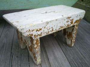 Antique Primitive Wood Cricket Bench Footstool Old Paint Cut Outs Aafa Folk Art