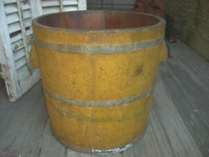 Antique Primitive Staved Wood Bucket Mustard Paint Wood Handles Large 14 Tall