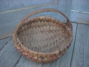 Antique Primitive Ribbed Oak Splint Melon Basket Old Paint Small 7 Round Aafa