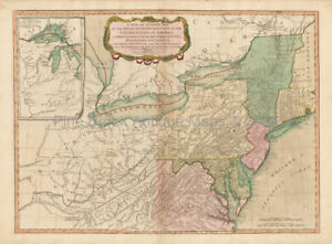 Northeast United States Antique Map Laurie Whittle 1794 Original American Gift