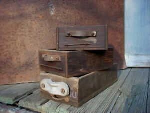 Vintage Industrial 3 Drawers Nails Parts Hardware Cabinet