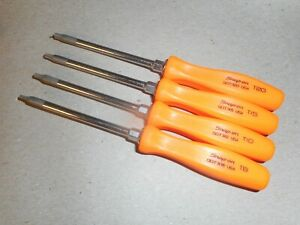 Snap On Tools Orange 4pc Mini Torx Screwdriver Set Hard Handles