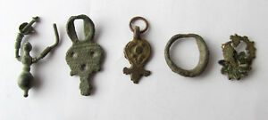 Lot Ancient Antique Roman Bronze Earrings Amulet