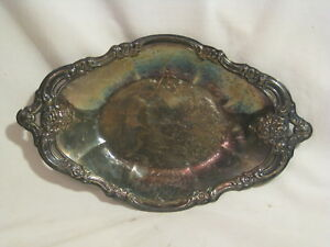 Vintage Community Platter Tray Ornate Floral Scroll Silver Plate 9 X 5 5