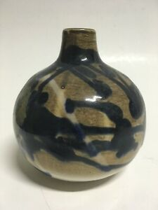 Old Japanese Signed Vase Vessel Blue Brown Pottery Weed Pot 5 5 Tall
