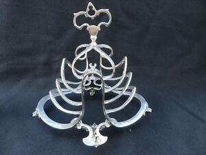 Victorian Silver Plated Toast Jam And Spoon Rack Tiger Footed Stand Fancy 7 5