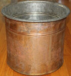 Antique 16 X14 Turkish Handhammered Copper Boiler Cauldron Planter Pot