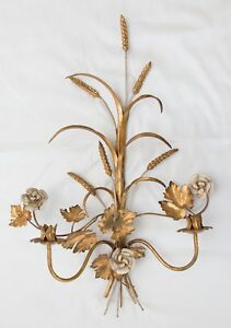 Large 27 Vintage Italian Florentine Tole Gilt Wheat Floral Wall Candle Sconce