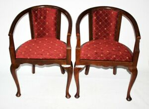 A Pair Of Antique Mahogany Tub Chairs Free Shipping Pl5060