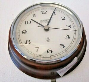 Wempe Marine Wall Clock Wooden Brass Made In Germany 152