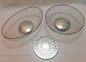 Eales Italy 1779 Oval Round Wire Baskets Trivet Silverplate Fruit Bread Bowl