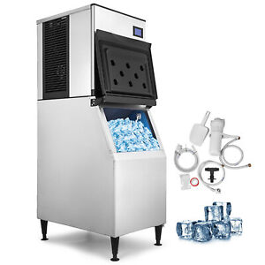 500 Lbs 24h Commercial Ice Maker Machine Lb 400t Ice Spoon Digital Control