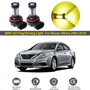 2x 80w Led Fog Driving Light For Nissan Altima 2005 2018 3000k Gold Yellow Bulbs