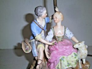 Antique Dresden Porcelain Lamp Courting Couple Figurine Lamb Pastoral Germany