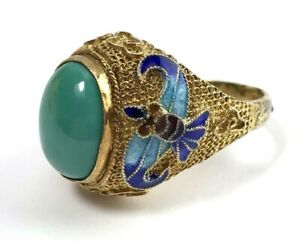 Vintage Chinese Sterling Silver Filigree Turquoise Cloisonne Ring Cabochon