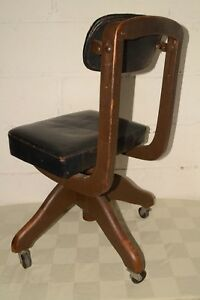 Antique Vtg 1920s Domore Wood Leather Office Chair Do More Elkhart In
