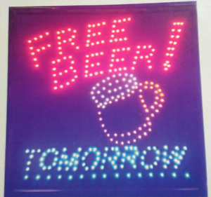 Free Beer Tomorrow Neon Led Sign store business bar shop Window Sign 20 x 20