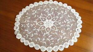 C51 Lovely Belgian Handmade Oval Doily Princess Lace On Tulle Ground 14x12