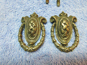 2 Brass Dresser Drawer Shield Drop Ring Pulls Decorative Ornate Elegant Deco