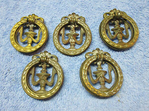 5 Brass 2225 Dresser Drawer Floral Ring Pulls Handle Decorative Ornate Elegant