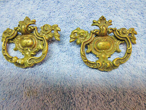 2 Vtg Kbc Brass Drawer Drop Ring Pulls Handles Decorative Ornate Elegant Fancy